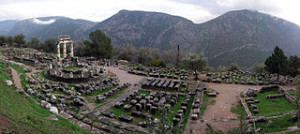 Athina Pronaia Sanctuary at Delphi by Luarvick
